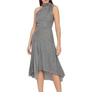 Reiss Adelia Asymmetric Midi Dress, Monochrome